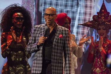 """RuPaul makes a surprise appearance onstage during """"RuPaul's Drag Race"""" Season 9 Premiere Party. (Photo by Santiago Felipe/Getty Images)"""