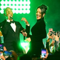 Pharrell Williams and Rihanna perform on stage during Rihanna's 5th Annual Diamond Ball Benefitting The Clara Lionel Foundation at Cipriani Wall Street on September 12, 2019 in New York City. (Photo by Dave Kotinsky/Getty Images