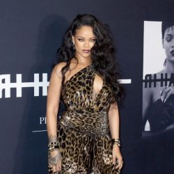 Rihanna pictured in gold and black long dress at her book launch party