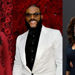 Tyler Perry pictured with celebrities at his studio opening gala