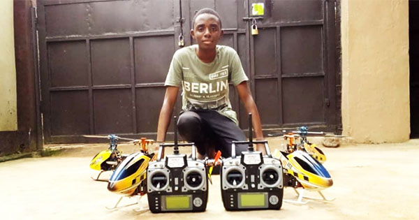 David Opateyibo pictured in front of his drones on the floor