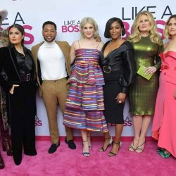 Like a Boss premiere photo of the cast, including Tiffany Hassish, pose on the pink carpet