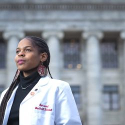 LaShyra Nolen stands outside of class looking confidents at Harvard