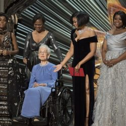 Katherine Johnson and the stars from the movie Hidden Figures are on stage