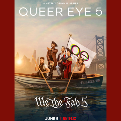 Queer Eye Season 5 promo poster with the fab five in a wooden boat