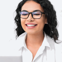 woman on virtual job interview smiling looking confident
