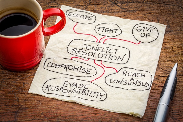 A napkin with conflict resolution solutions wrtten on it, sitting next to a cup of coffee