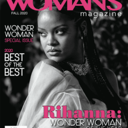 Rihanna on professional women's magazine cover wonder woman of the year.