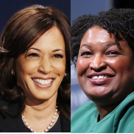 Kamala Harris and Stacey Abrams side by side headshots, both smiling