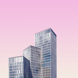 skyscrapers with a pink background
