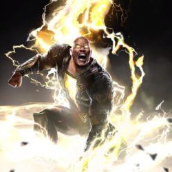 Animated photo of Dwayne Johnson as a super hero surrounded by electricity rays.