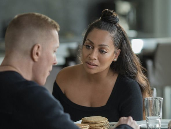 LaLa Anthony as LaKeisha on the set of Power seated next to co star.