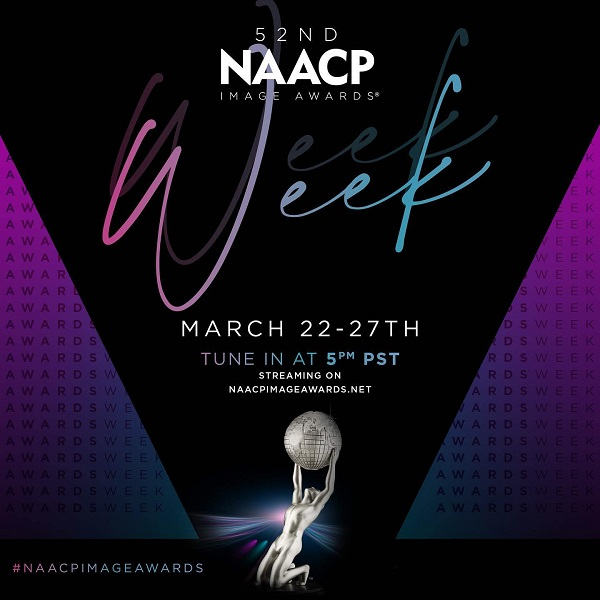 NAACP Image awards promo poster in purple and black with the date and an award statue