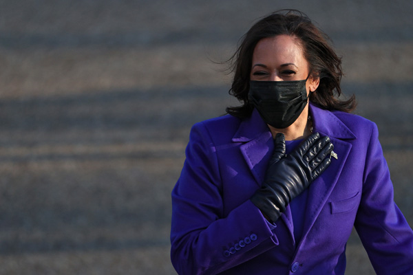 U.S. Vice President Kamala Harris walks the abbreviated parade route after U.S. President Joe Biden's inauguration on January 20, 2021 in Washington, DC. Biden became the 46th president of the United States earlier today during the ceremony at the U.S. Capitol.