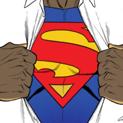 a black superman ripping open his white button up shirt to reveal his super hero costume