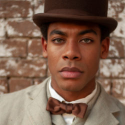 Underground railroad actor wearing vintage clothing from the time