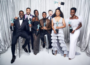 Sterling K. Brown, Angela Bassett, Lupita Nyong'o, Chadwick Boseman, Danai Gurira, Michael B. Jordan and Andy Serkis winners of Outstanding Performance by a Cast in a Motion Picture for 'Black Panther