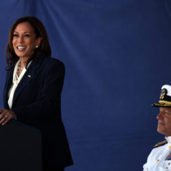 Vice President Harris speaks at the graduation and commission ceremony at the U.S. Naval Academy in Annapolis, Md. The 63rd superintendent of the U.S. Naval Academy, Vice Admiral Sean Buck, is at right.