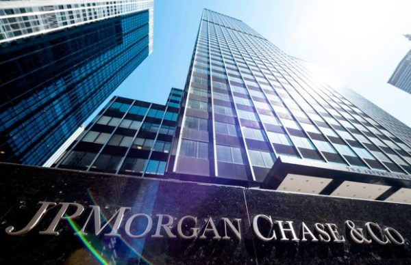 Jp Morgan building with sign. JP morgan is creating scholarships for black college students.
