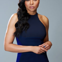 BET Awards host Taraji P. Hensen posed in front of the camera while wearing a blue dress