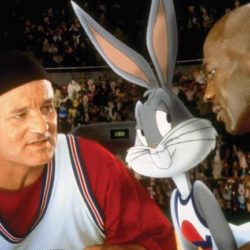 Bill Murray, Micheal Jordan, and bugs bunny featured in space jam