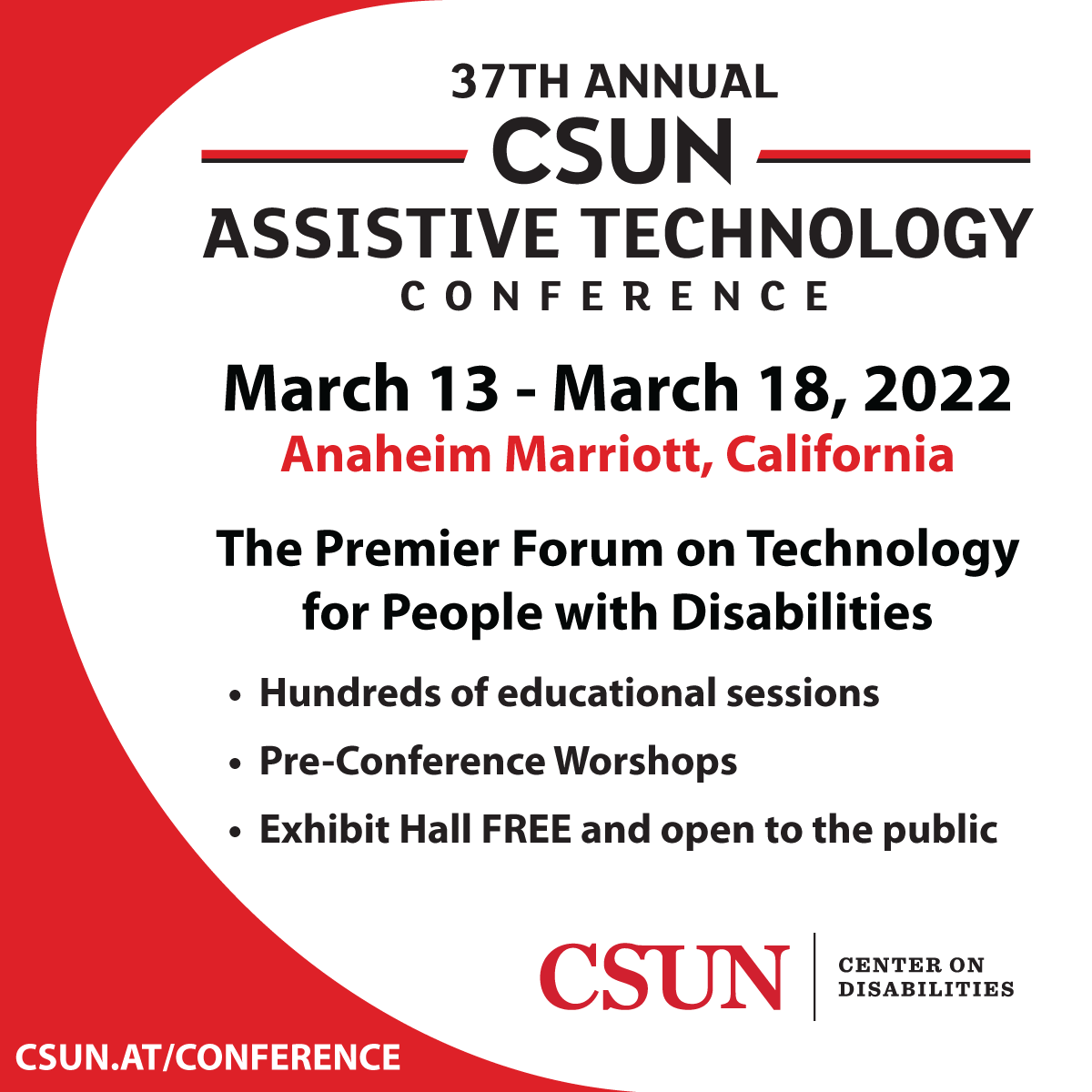 CSUN Center on Disabilities 2022 Conference flyer