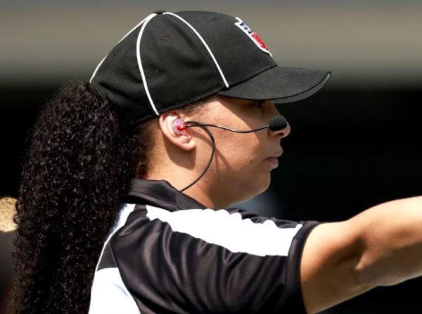 Line judge Maia Chaka signals during the game between the Carolina Panthers and the New York Jets at Bank of America Stadium on Sept. 12 in Charlotte, N.C. Chaka made history as the first Black woman to officiate an NFL game.