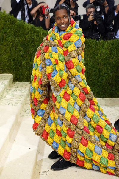 ASAP Rocky wearing a thrifted quilt inspired look for the met gala